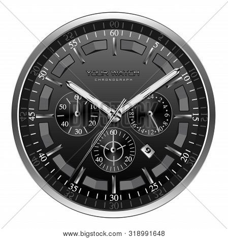 Realistic Black Silver Clock Watch Face Chronograph Luxury On White Background Vector Illustration.