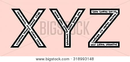 X Y Z Letters With Words Inside Hand Drawn Lettering In Cartoon Style