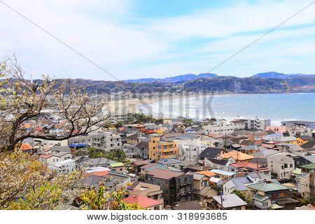 Aerial view of Kamakura Sagami Bay, Pacific Ocean. View from second level in Hase-dera (Hasedera) temple, Kamakura, Kanagawa prefecture, Japan