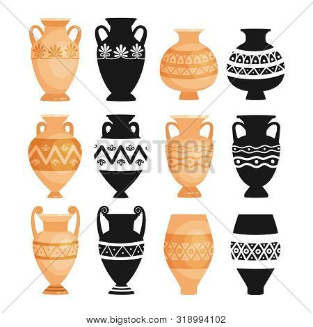 Ceramic Ancient Bowls. Ancients Decorative Pottery Objects Vector Illustration, Greece Clay Craft Po