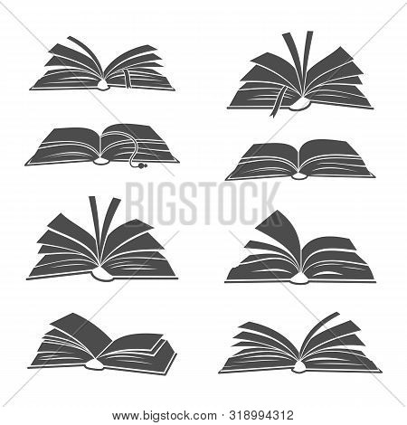 Books Black Silhouettes Illustration. Vector Open Book Icons For Science, School Studying And Readin