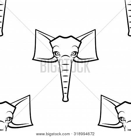 Funny Cartoon Small Elefant Character. Seamless Pattern. Design Template For Wallpapers, Wrapping, T