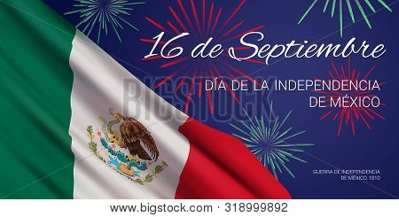 Vector Banner Design Template With Flag Of Mexico, Fireworks, And Text On Blue Background. Translati