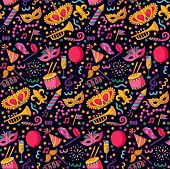 Masquarade festive party cute colorful icons seamless vector pattern poster