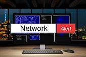 computer workstation in dark night office skyline view warning network alert, 3D Illustration poster