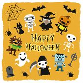 Halloween characters like jack-o-lantern, pumpkin, mommy, ghost, bat, black cat, skeleton, monster, grave, werewolf, witch, spider, spider web. vector illustation poster