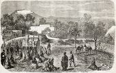 French intervention in Mexico: outdoor Mass in General Bazane headquarters. Created by Blanchard, published on L'Illustration, Journal Universel, Paris, 1863 poster