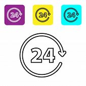 Black line Clock 24 hours icon isolated on white background. All day cyclic icon. 24 hours service symbol. Set icons colorful square buttons. Vector Illustration poster
