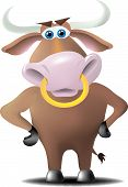 A bull with a ring in his nose and hands on hips with a discerning look on his face. poster