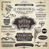vector set: calligraphic design elements and page decoration, Premium Quality Label collection with black grungy design end engraving flowers poster
