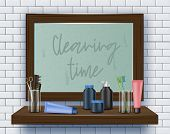 Dirty Mirror on Bathroom Wall. Cleaning Time. Means for Cleaning Apartment. Clean House. Vector Illustration. Cleaning Realistic. Dirty Surface. Modern Cleaning Product. Toiletries on Shelf. poster