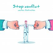Stop conflict sketch design. Businessman referee finds compromise. Mediator solving competition. Conflict and solution. Man throws two fists. Vector cartoon style. Isolated on white background. poster