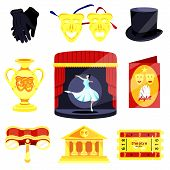 Theater set.Performance actors scenario decorations.Theater acting performance.Modern flat cartoons vector illustration icons.Isolated on white.Theater set.Harp,playbill,fan,ballet,feather,mask,scene poster