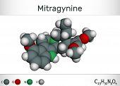 Mitragynine molecule. It is the herbal alkaloid with opiate-like properties produced by plant Mitragyna speciosa Korth, kratom. Molecule model. Illustration, 3D rendering poster