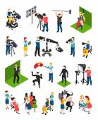 Cinematography isometric people videographers with camcorders actors director illuminator dresser and decorator isolated vector illustration poster