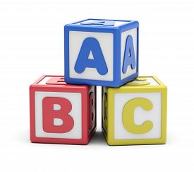Blue, Red, Yellow Abc Alphabet Blocks Composition. 3d Rendering. Isolated On White Background.