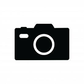 Photo Camera Icon Isolated Black On White Background, Photo Camera Icon Vector Flat Modern, Photo Ca
