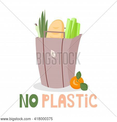Grocery Paper Eco Bag. The Bag Contains Fresh Food - A Loaf Of Bread, Fresh Celery Stalk, Green Onio