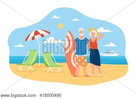Happy And Active Elderly Couple Is Spending Time On The Beach Together. Retired Male And Female Char