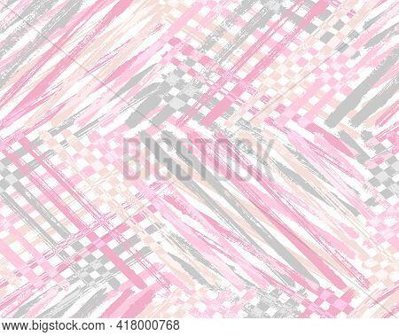 Vintage Paint Backdrop Vector Illustration. Paintbrush Streaks Handmade Surface. Acrylic Paint Mix I