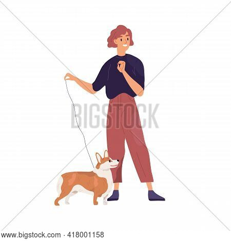 Happy Pet Owner Standing With Her Small Dog On Leash. Young Woman And Short-legged Doggy Of Corgi Br
