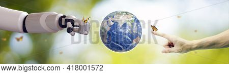 Planet Earth Globe Ball , Robot Hand And Human Hand, Flying Yellow Butterfly On Green Sunny Backgrou