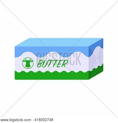 Flat Style Block Of Butter Package Isolated Icon On White Background. Colorful Vector Butter Pack Ic