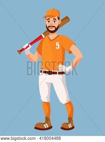 Standing Baseball Player. Sportsman In Cartoon Style.