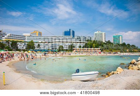 Beautiful Olimp beach in summer, Romania. Olimp is popular summer destination in Romania for hundred of thousands of tourists a year.