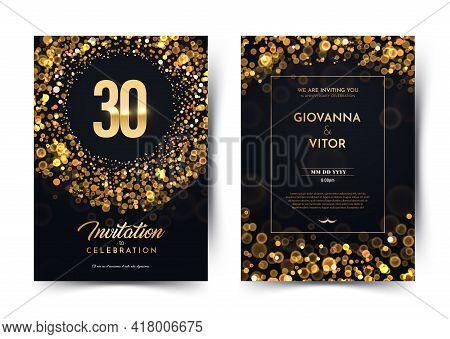 30th Years Birthday Vector Black Paper Luxury Invitation Double Card. Thirty Years Wedding Anniversa