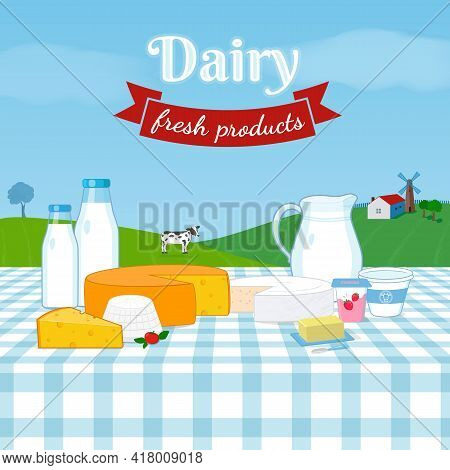 Dairy Milk Products Set ,rural Farm Landscape With Dairy Cattle Cow, Windmill, House. Cheese Blocks,