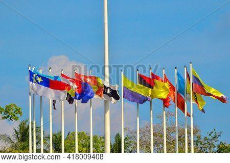Labuan,malaysia-apr 23,2021:14 States Colourful Flags Within Malaysia In Labuan Square,malaysia.it I