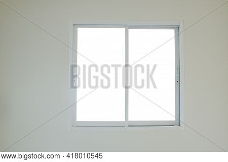 Modern Sliding Window Glass That Installed On White Wall, Interior On Home And Building