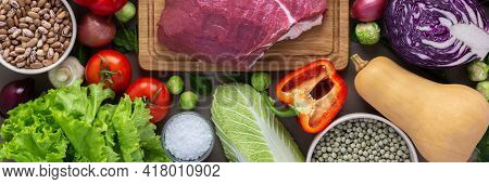 Fresh Farm Organic Vegetables Banner, Healthy Food Concept, Vegetables And Mushrooms, Superfoods And
