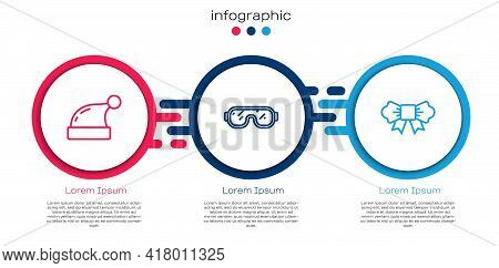 Set Line Christmas Santa Claus Hat, Ski Goggles And Bow Tie. Business Infographic Template. Vector