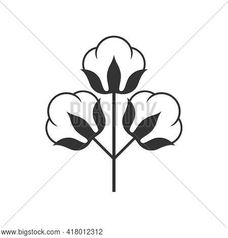 Branch Of Cotton Graphic Icon. Cotton Plant Sign Isolated On White Background. Logo Template. Vector