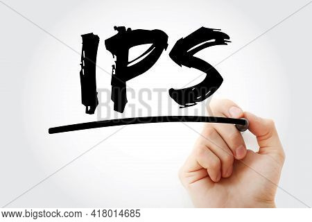 Ips - Intrusion Prevention System Acronym With Marker, Technology Concept Background