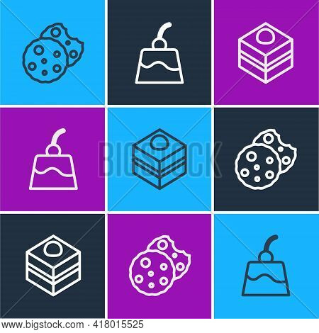 Set Line Cookie Or Biscuit, Brownie Chocolate Cake And Pudding Custard Icon. Vector