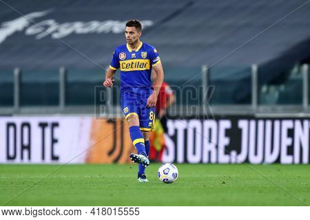 Torino, Italy. 21 April 2021. Alberto Grassi Of Parma Calcio  During The Serie A Match Between Juven