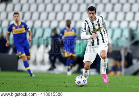 Torino, Italy. 21 April 2021. Alvaro Morata Of Juventus Fc  During The Serie A Match Between Juventu