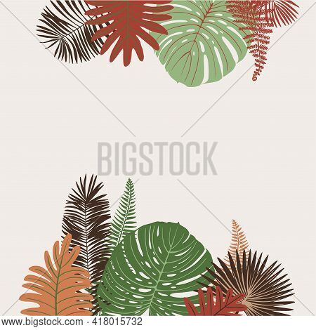 Tropics Leaves Vector Beige Modern. Color Green, Trend Ornament Terra