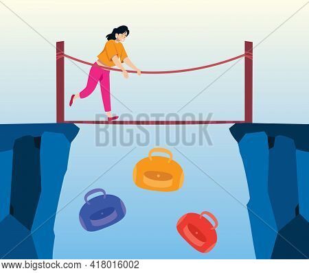 Concept Illustration Of Young Woman Dropping Bags From A Bridge As A Metaphor For Getting Rid Of Exc