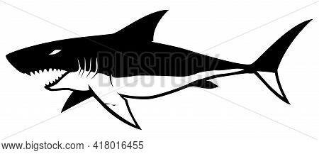 Black And White Illustration Of A Shark.
