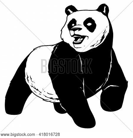 Black And White Illustration Of A Panda Bear.