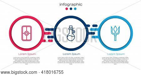 Set Line Greek Shield, Bottle Of Olive Oil And Neptune Trident. Business Infographic Template. Vecto