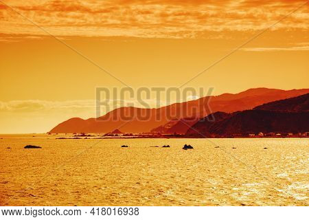 An image of Cook Strait New Zealand sunset