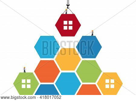 Tower Crane Made Of Colored Blocks Hexagon Builds House.