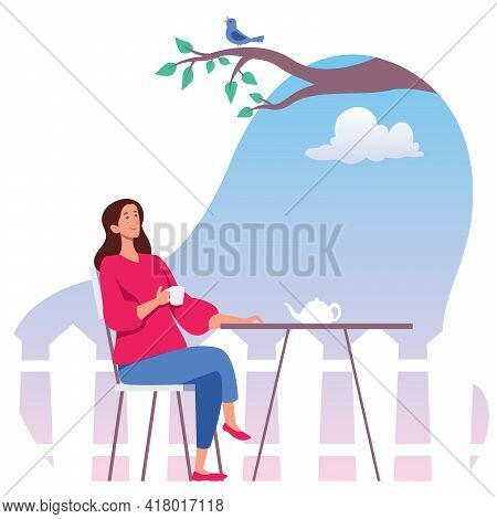 Flat Design Illustration With Young Woman Relaxing While Drinking Tea In Her Garden.