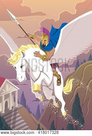 The Mythical Greek Hero Bellerophon Riding Pegasus On The Way To His Next Heroic Adventure.