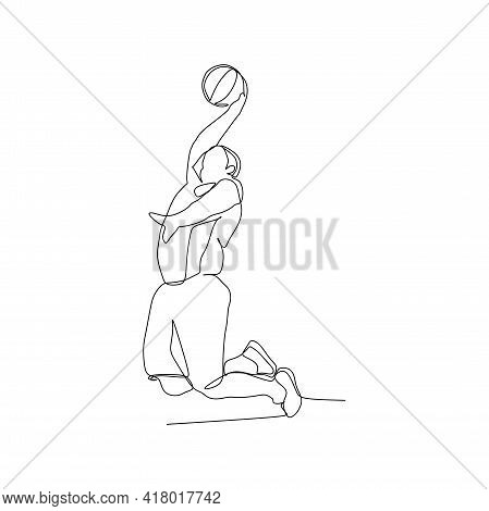 A Male Basketball Player Creating A Point By Slam Dunk - Continuous One Line Drawing
